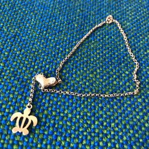 Jewelry - sterling silver sea turtle heart bracelet anklet
